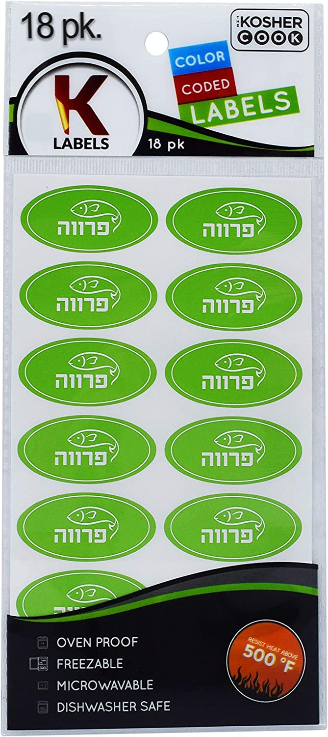 18 Parve Green Kosher Labels – Oven Proof up to 500°, Freezable, Microwavable, Dishwasher Safe, Hebrew - Color Coded Kitchen Stickers by The Kosher Cook