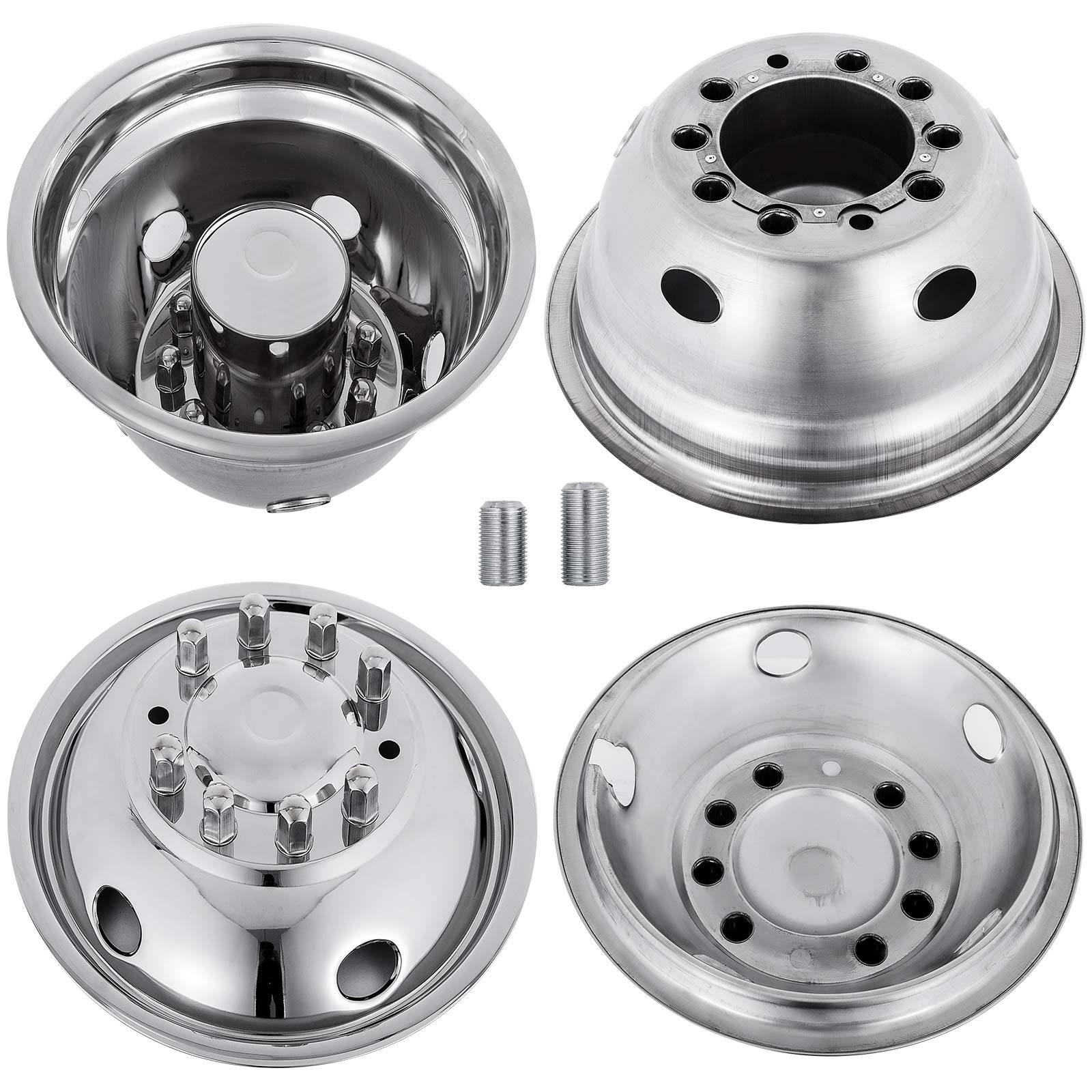 Mophorn 4 PCS of Wheel Simulators 19.5 Inch 10 Lug Hubcap Kit Fit for 2005-2017 Ford F450 - F550 2WD Trunk Polished Stainless Steel Bolt On Dually Wheel Cover Set (19.5'') by Mophorn (Image #3)