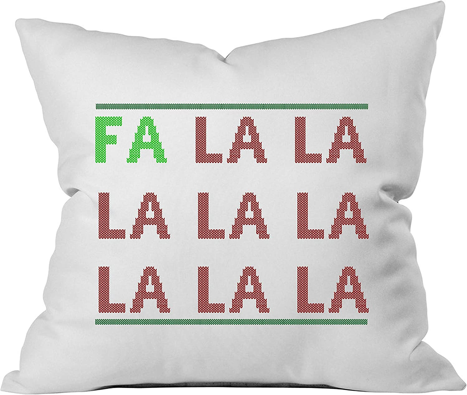 Amazon Com Oh Susannah Fa La La Christmas Throw Pillow Cover 1 18 X 18 Inch Green Red Home Kitchen