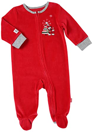 61e22caa8 Disney Baby-Boys Newborn Mickey Mouse My First Christmas Romper, Apple Red,  3