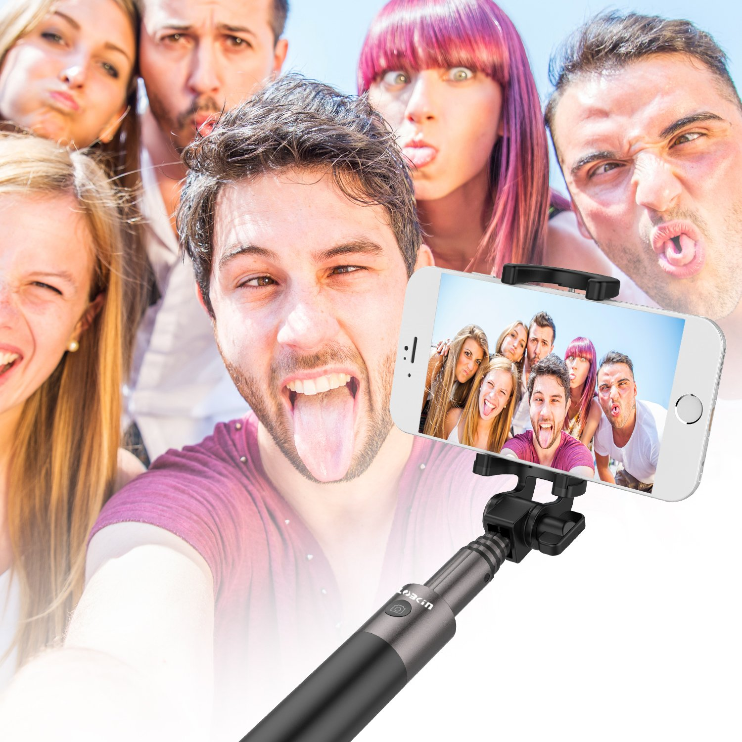 Selfie Stick,Lobkin Bluetooth Selfie Stick with Built-in Remote Shutter Extendable Aluminum Monopod for Android and iOS Smartphone
