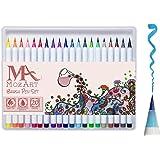 Set de rotuladores con punta de pincel - 20 colores - Punta de pincel real, flexible y suave, alta calidad, crea un efecto acuarela - Ideal para libros para colorear para adultos, manga, comic, caligrafía - Doble grosor - MozArt Supplies