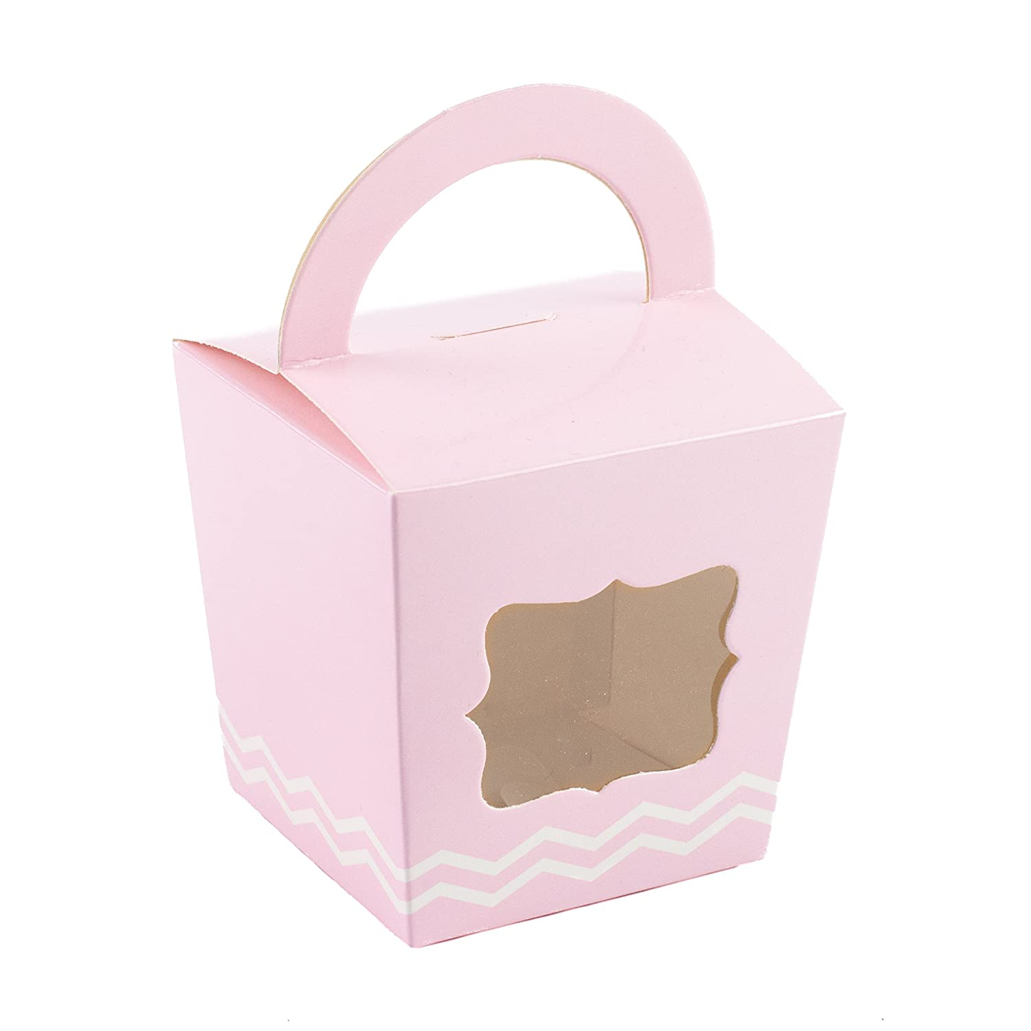 10 x Cupcake Box With Handle Pink Cake Box With Zigzag Pattern Ibex Retail