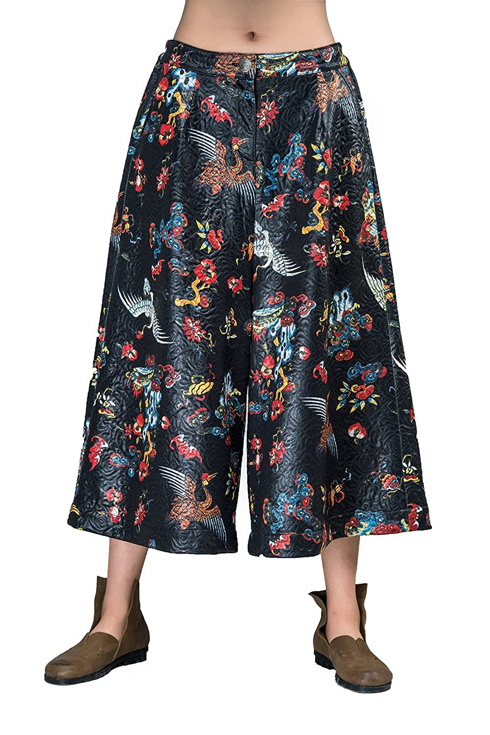 OUTLINE Women's Ethnic Chinese Print Three Quarter Wide Leg Pants With Pockets