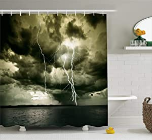 Ambesonne Nature Shower Curtain, Majestic Rain Cloud with a Thunderstorm All Over The Ocean Sea Dramatic Scenery, Cloth Fabric Bathroom Decor Set with Hooks, 75
