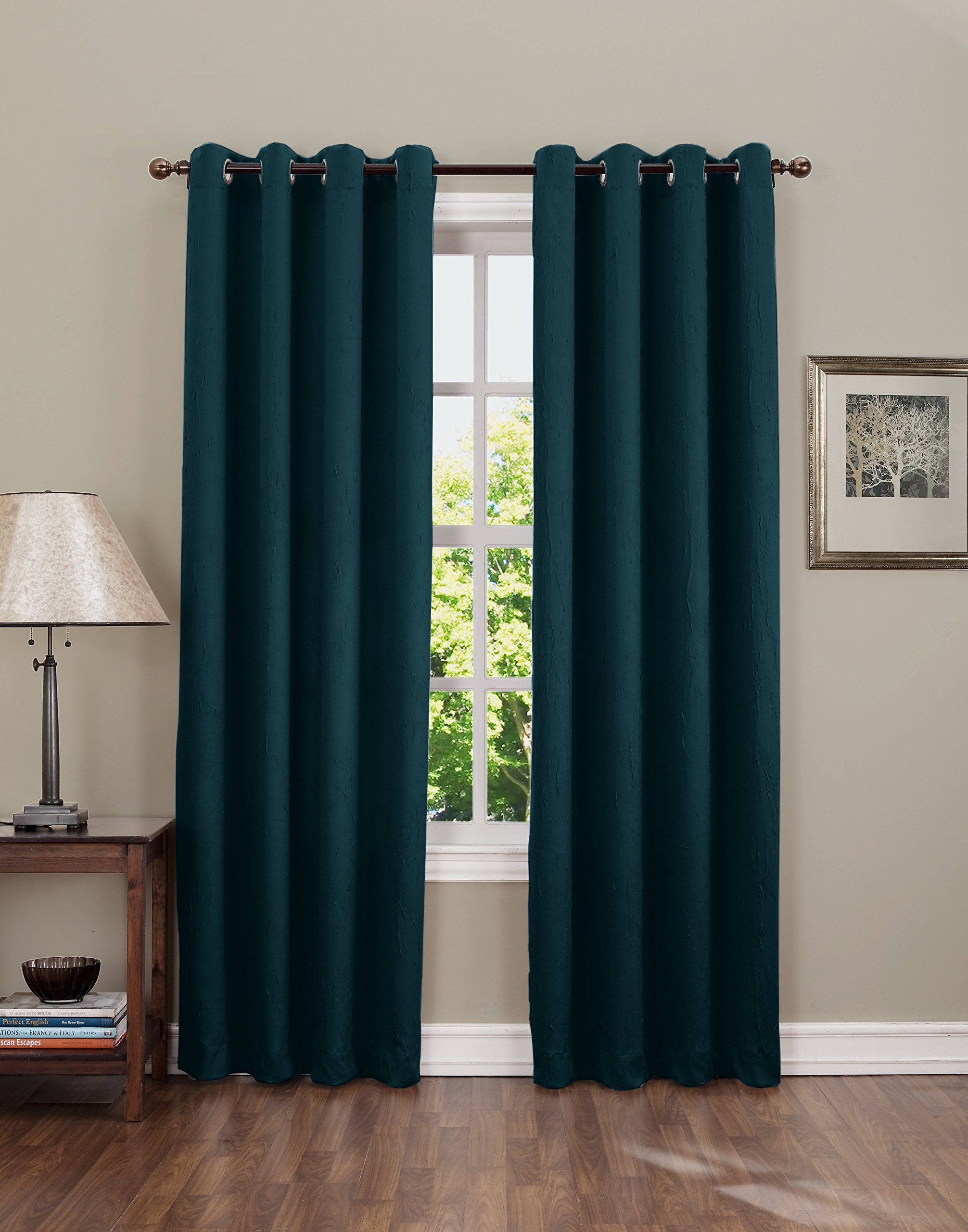 "Sun Zero Leighton Crushed Texture Energy Efficient Grommet Curtain Panel, 50"" x 84"", Teal - Crushed fabric provides unique crinkled texture Room Darkening technology blocks out some unwanted light while enhancing privacy Energy efficient design reduces energy lost through your windows by up to 25% - living-room-soft-furnishings, living-room, draperies-curtains-shades - 81kgseIjdAL -"