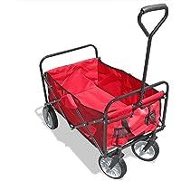 JOM Falt Handwagen, Bollerwagen zusammenklappbar 87 x 55 cm, schwarz-rot, Ladegewicht bis 80 kg, mit Planen- Tragetasche