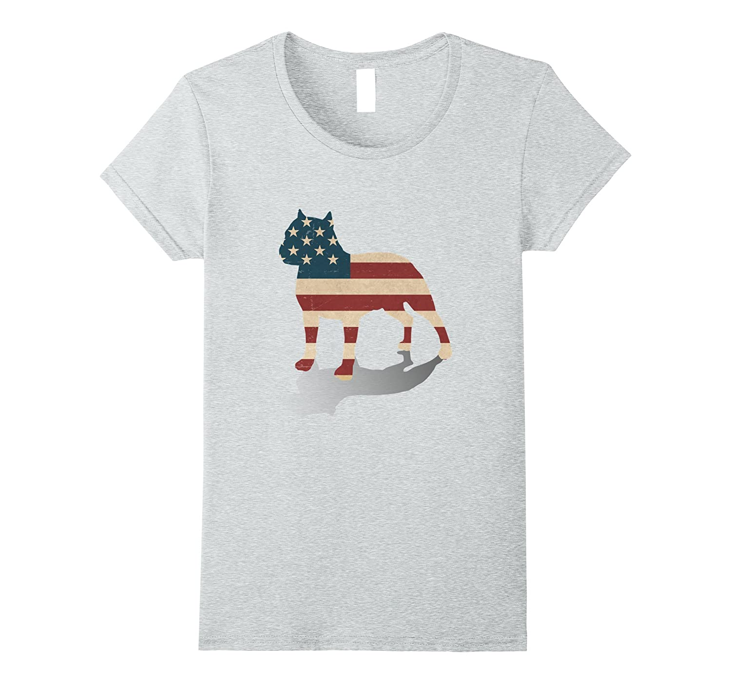 Patriotic Pitbull – Canine Silhouette with Flag