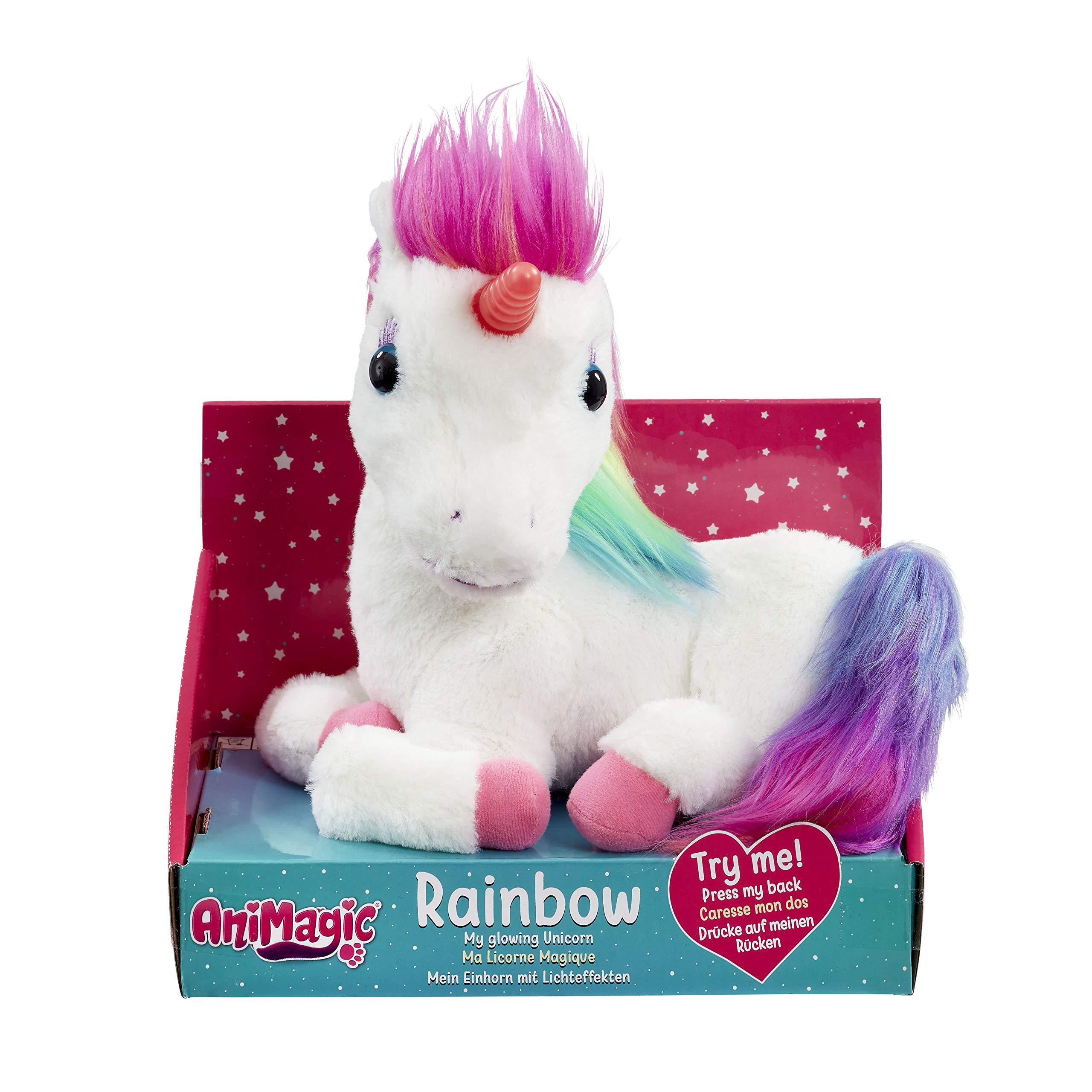 Animagic Licorne Rainbow-Corne Lumineuse-Hénnit et émet des Sons Magiques-Peluche Interactive, 31224.4300 product image