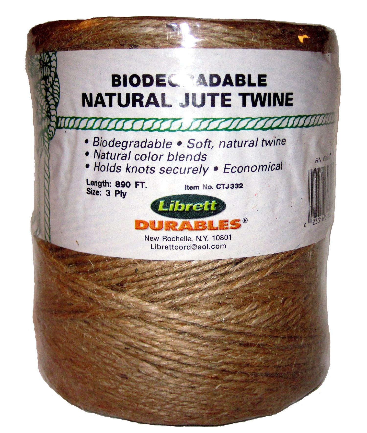 Librett Biodegradable Natural Jute Twine, 890 FT - 32oz - 3 Ply by Librett