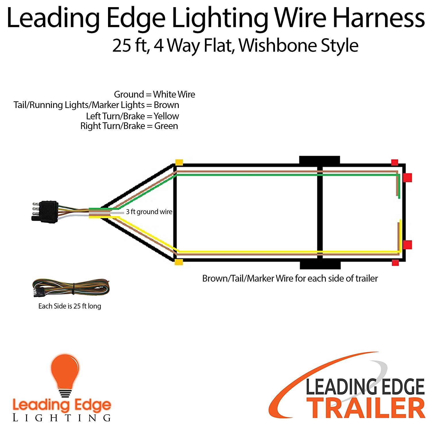 Amazon wishbone style trailer wiring harness with 4 flat amazon wishbone style trailer wiring harness with 4 flat connector 25 ft long with 3 ft ground wire sports outdoors asfbconference2016