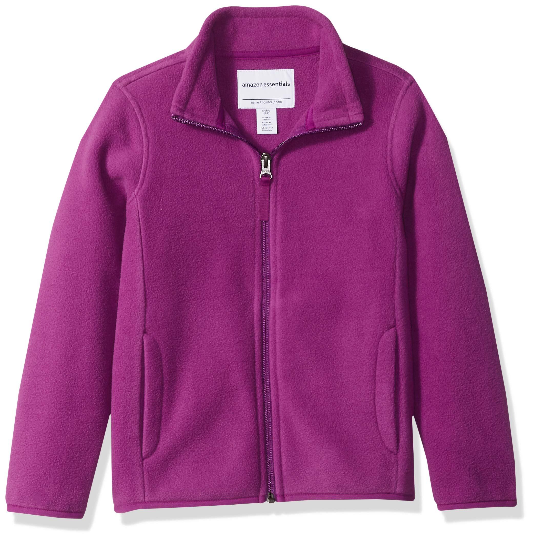 Amazon Essentials Girl's Full-Zip Polar Fleece Jacket, Plum Purple, Medium
