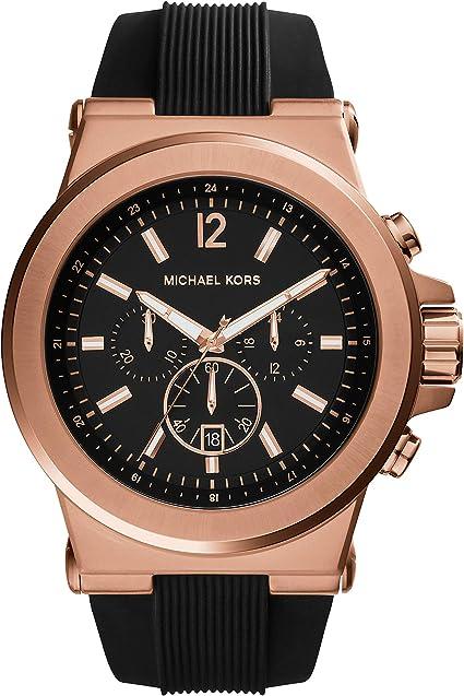 Michael Kors MK8184 47mm Oro Rosa Caso Negro Caucho Mineral Reloj de los Hombres: Amazon.es: Relojes