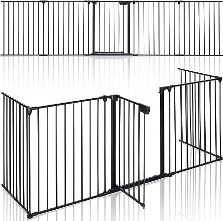 Oferta amazon: KIDUKU® Barrera de Seguridad 305 cm para Niños y Mascotas | Reja de Protección de Metal - Premontado | Rejilla Protectora Metálica Plegable con Puerta | 5 Paneles