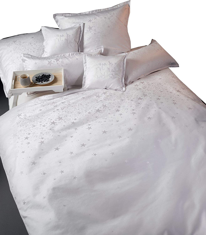 Curt Bauer Wendebettwäsche Stella Damast buntgewebt weiß Größe 135x200 cm (80x80 cm)