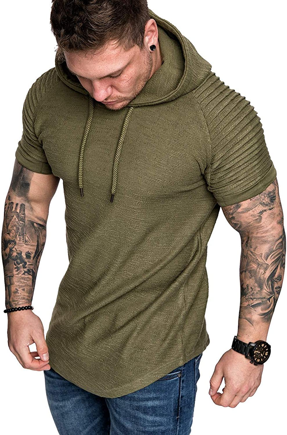 Canrulo Mens Pleated Short Sleeve Hoodie Pullover Hipster Hip Hop Longline Hooded Shirts Solid T-Shirt