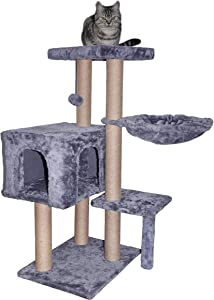 WIKI 002G Cat Tree has Scratching Toy with a Ball Activity Centre Cat Tower Furniture Jute-Covered Scratching Posts Grey