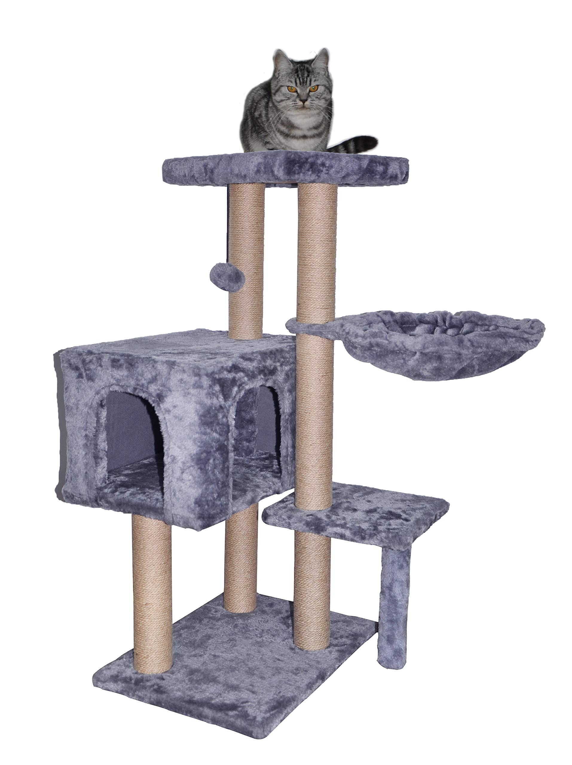 WIKI 002G Cat Tree has Scratching Toy with a Ball Activity Centre Cat Tower Furniture Jute-Covered Scratching Posts Grey by WIKI