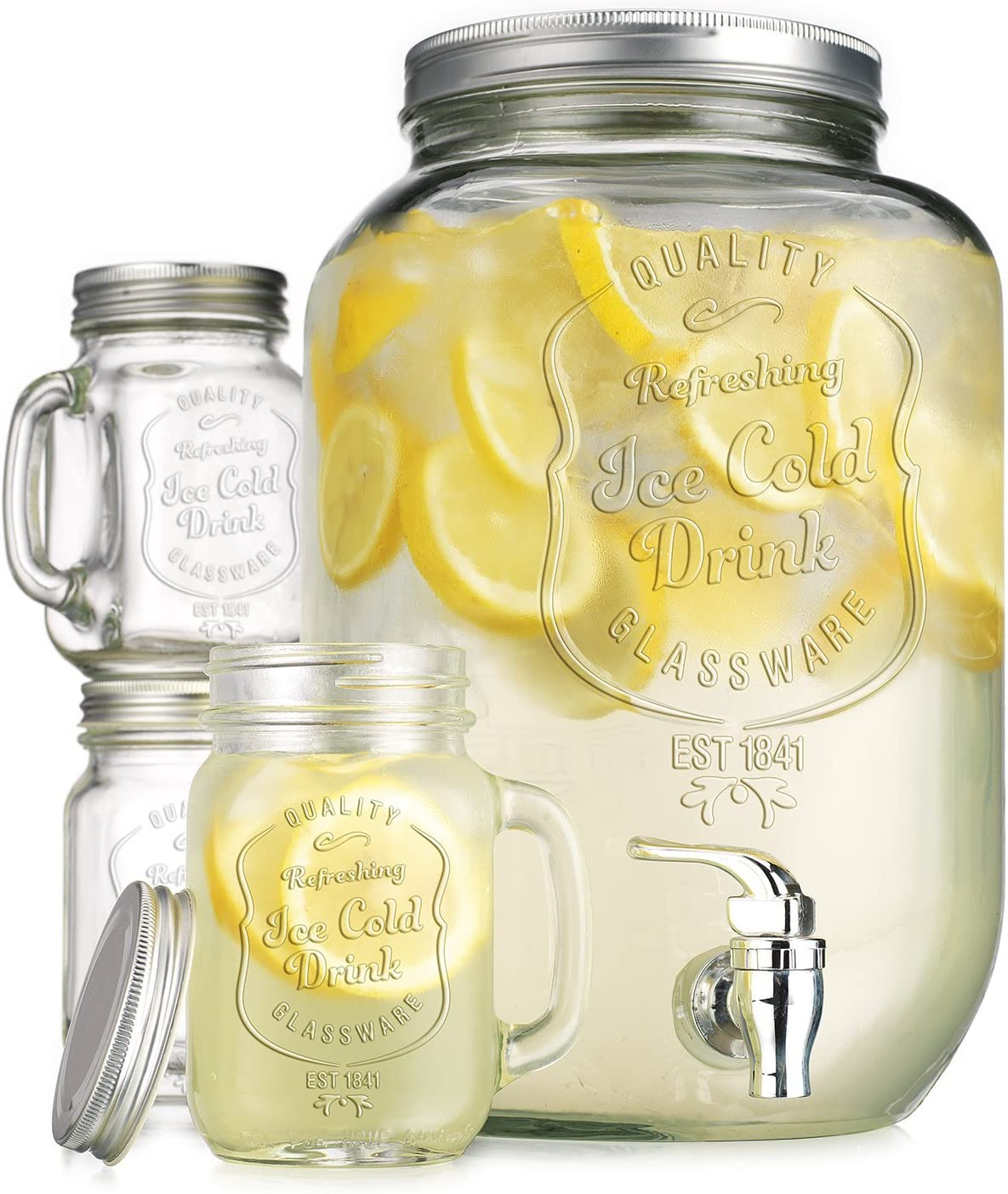 TWI 2.15 Gallon Quality Ice Cold Clear Embossed Glass Jug Beverage Drink Dispenser with Set of 4 Ice Cold Mason Mugs, with Spigot for Easy Filling- for Outdoor, Parties & Daily Use