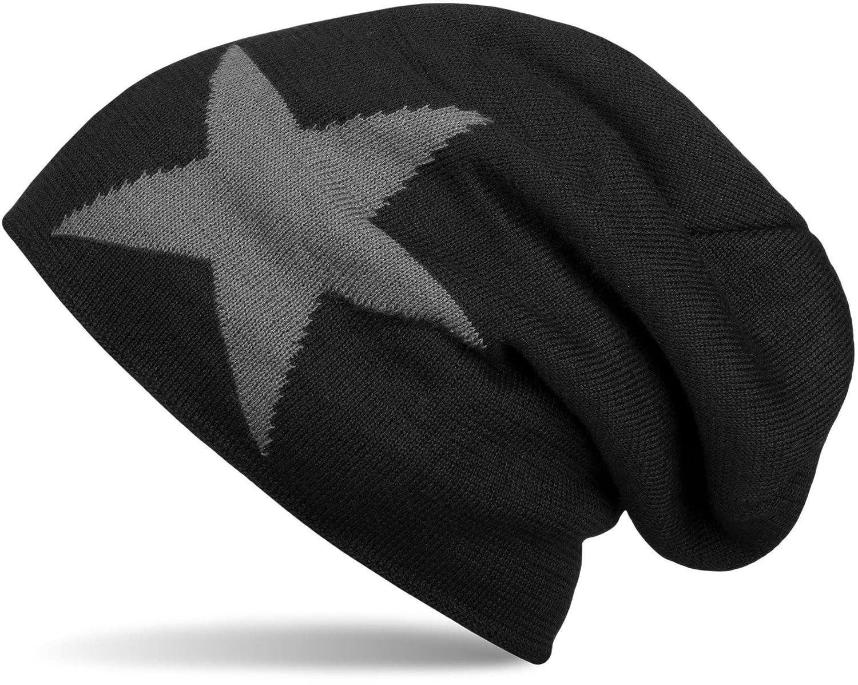 styleBREAKER warme klassische Strick Beanie Mütze mit Stern und sehr weichem Innenfutter, Unisex 04024026