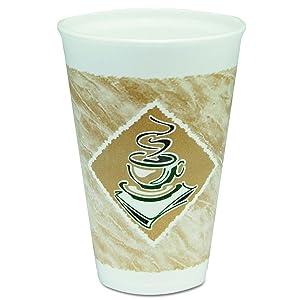 Dart 16X16G Café G Foam Hot/Cold Cups, 16oz, White w/Brown & Green (Case of 1000)
