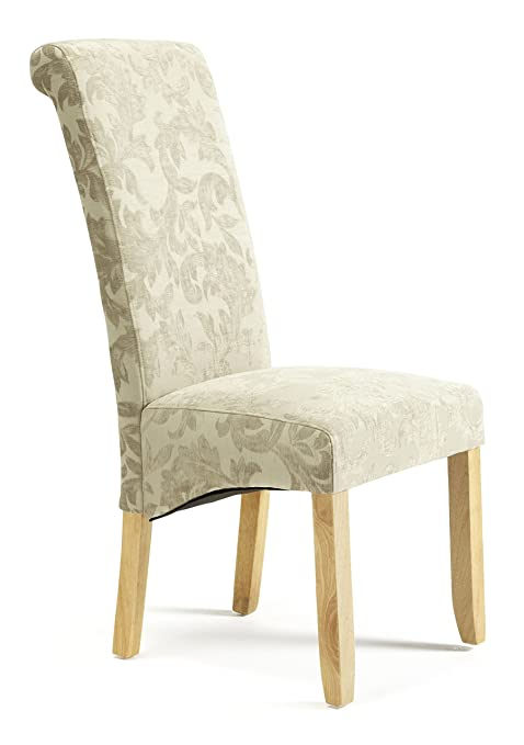 Serene Furnishings The Dining Collection Kingston Floral Upholstered Chairs With Hevea Legs Finished In Oak