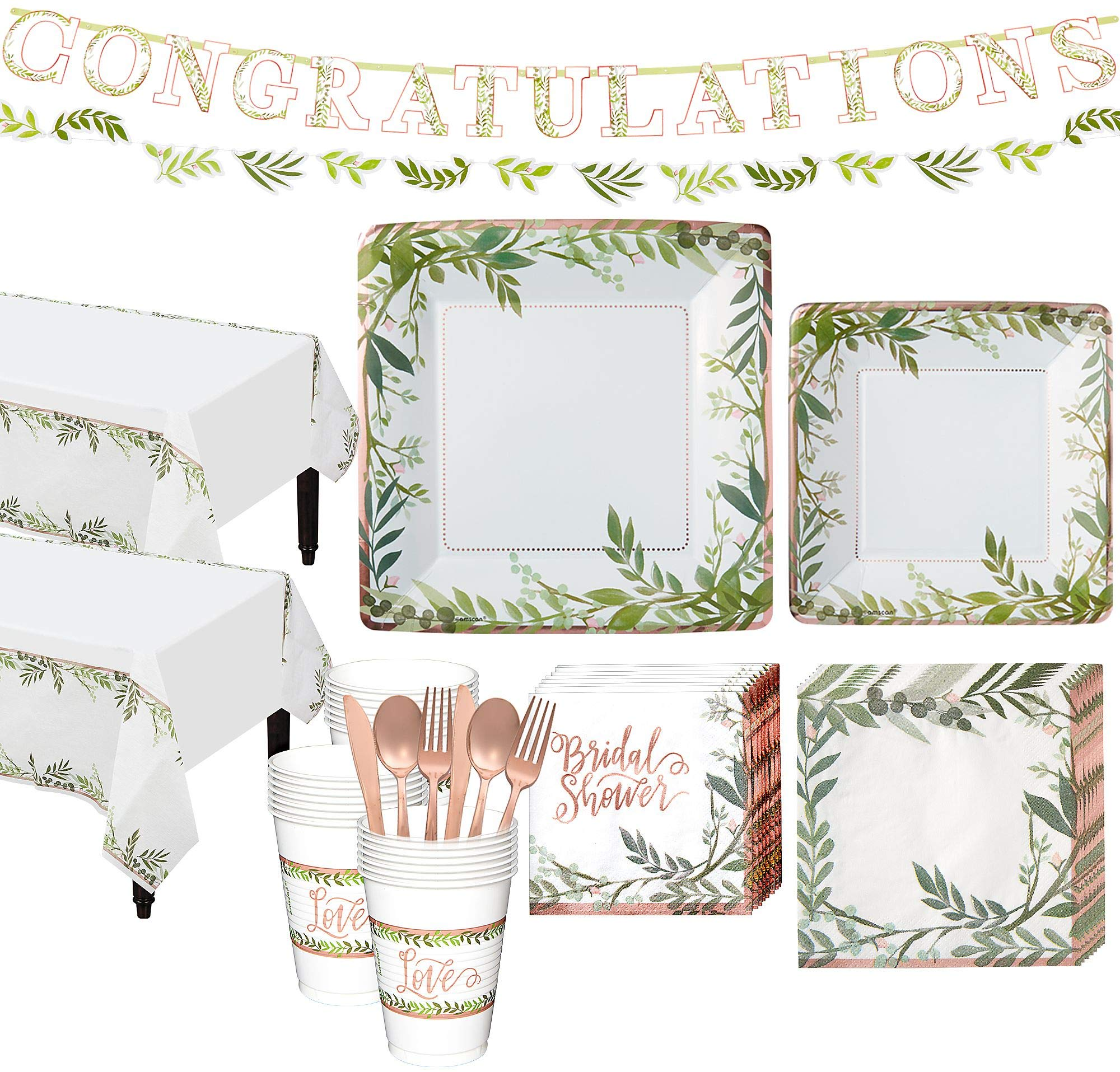 Party City Metallic Floral Greenery Bridal Shower Party Kit for 32 Guests, Includes Table Covers and Banner