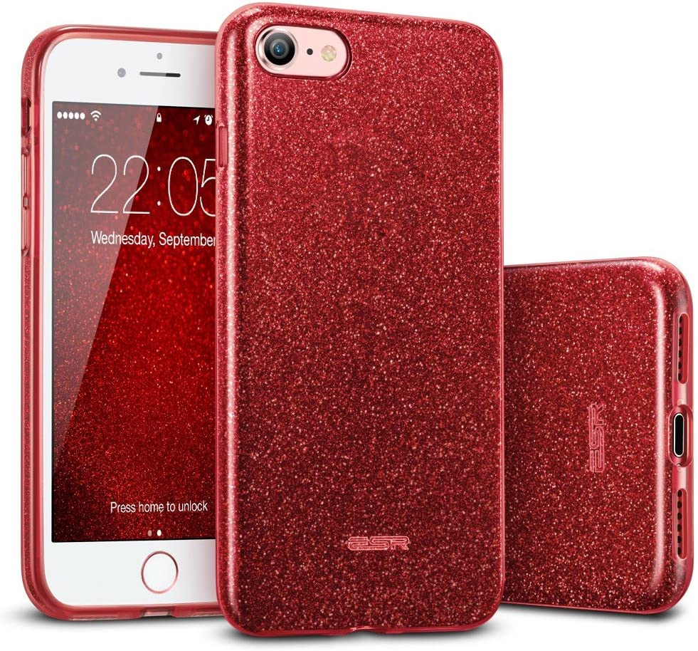 ESR Glitter Case Compatible with iPhone SE 2020 Case, iPhone 8/7 Case, Glitter Sparkle Case for Women [Three Layers] [Supports Wireless Charging] for New iPhone SE 2(2020)/iPhone 8/7, Sparkle Red