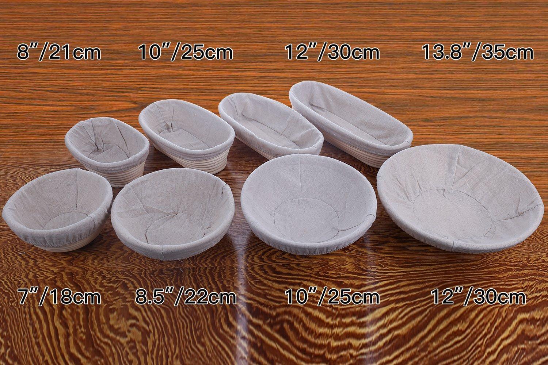 M JINGMEI Banneton Proofing Basket 10'' Round Banneton Brotform for Bread and Dough [Free Brush] Proofing Rising Rattan Bowl(1000g Dough) + Free Liner + Bread Lame by M JINGMEI (Image #2)
