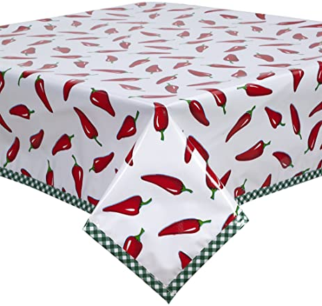 Freckled Sage Hot Chili Peppers Oilcloth Tablecloth With Green Gingham Trim  You Pick The Size