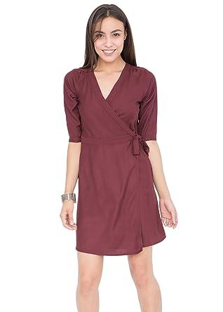 492865e05b likemary Burgundy Wrap Dress with 3 4 Sleeves S at Amazon Women s ...