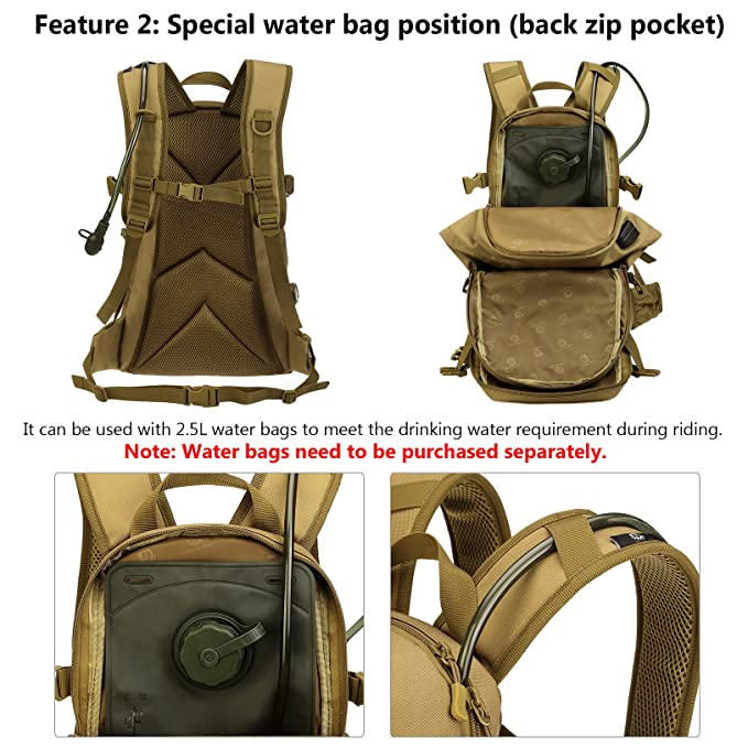 Amazon.com : ArcEnCiel Tactical Travel Backpack Hydration Water Pack Bag with Patch - Rain Cover Included (Black) : Sports & Outdoors