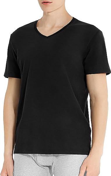 Genuwin 3 Pack Camisetas Hombre Manga Corta con Cuello En V ...