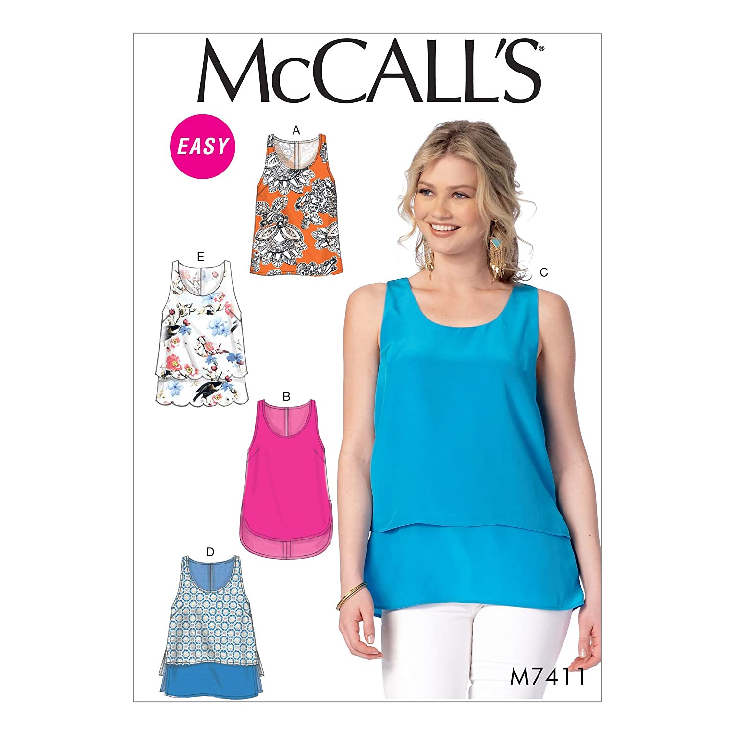 MCCALLS M7411 EASY SEWING PATTERN MISSES TOPS 5 SYTLES (SIZE LRG-XXL) by McCall's   B01FPRWY3I
