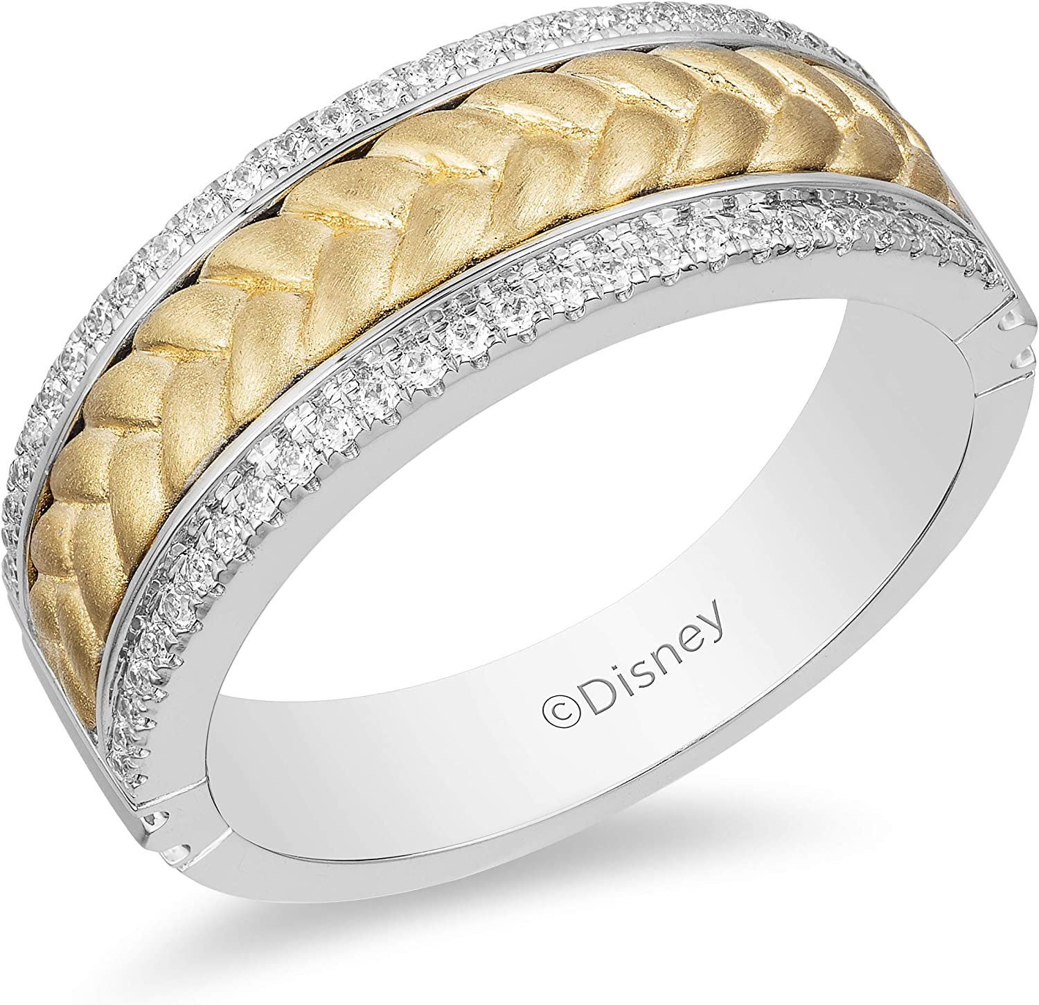 Jewelili Enchanted Disney Fine Jewelry 14k White And Yellow Gold 1 4 Cttw Mens Ring Inspired By Rapunzel Braid Amazon Com