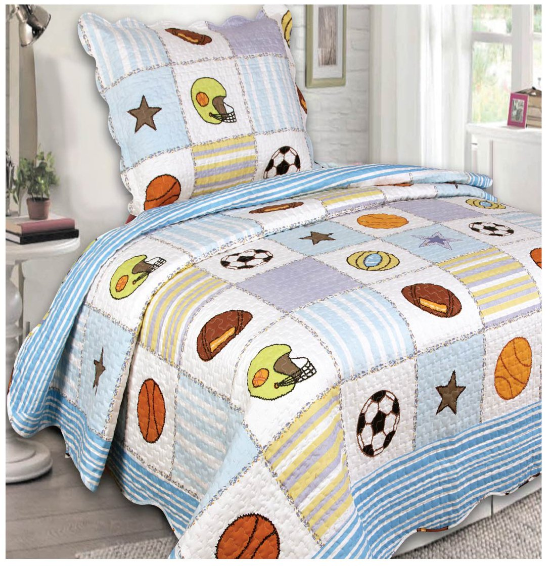 Mk Collection 2 Pc Bedspread Boys Sport Football Basketball Baseball White Light Blue New