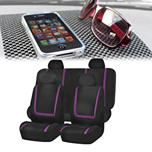 FH-FB032114 Unique Flat Cloth Full Set Car Seat Covers, Purple / Black with FH1002 Non-slip Black Dash Grip Pad Mat- Fit Most Car, Truck, Suv, or Van