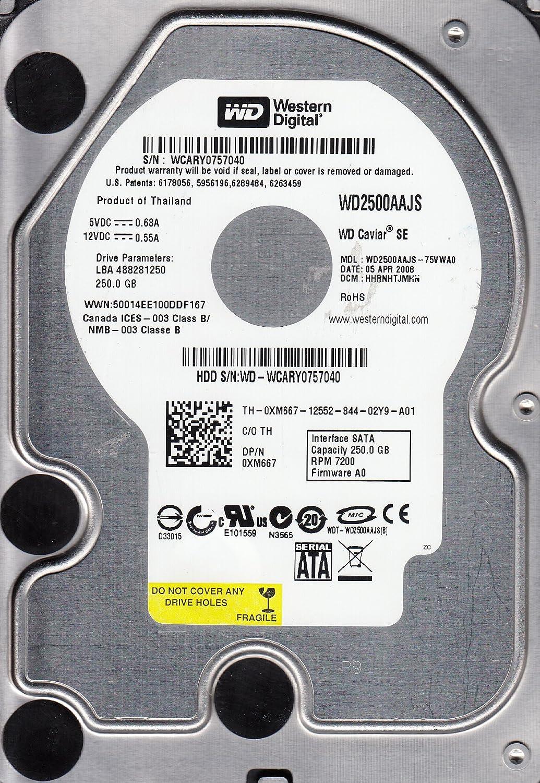 WD2500AAJS-75VWA0 Western Digital 250GB 7200RPM SATA 3.0 Gbps 3.5 inch Caviar Hard Drive