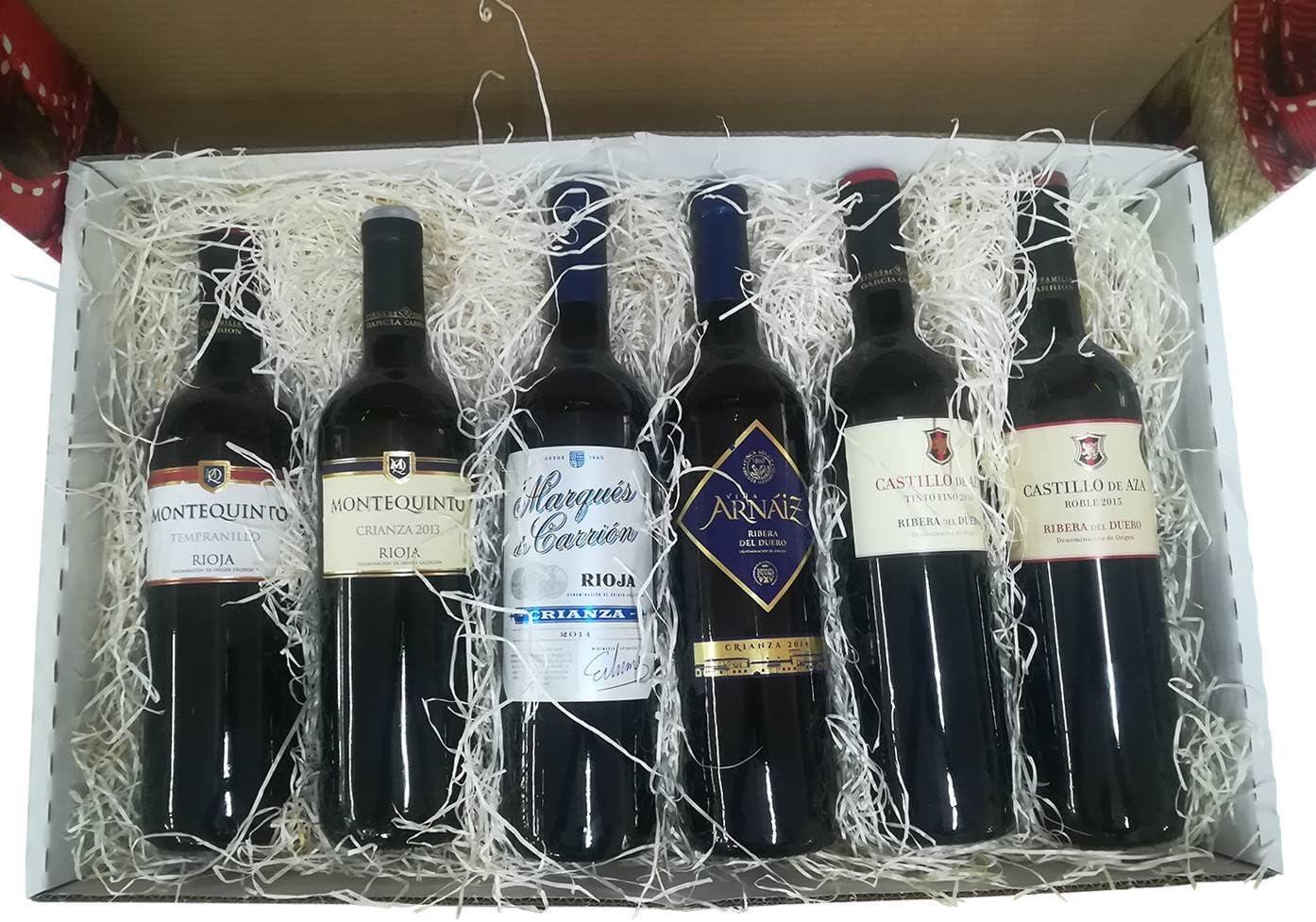 Cesta decorativa con Vinos Rioja y Ribera del Duero para regalar: Amazon.es: Alimentación y bebidas