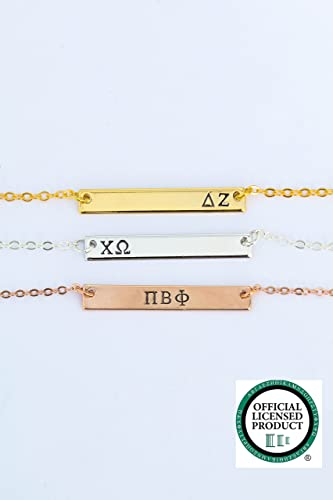 sorority sister gift necklace dii personalized silver rose gold bar custom greek letters