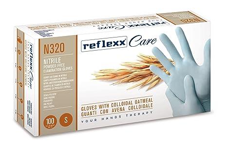Reflexx N320/L – Guantes desechables de nitrilo guantes w/harina de avena coloidal