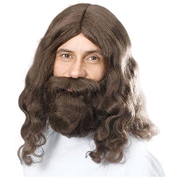 Braune Gewellte Jesushippieperücke Und Bart Lange Haare Braun