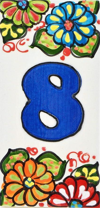 cuerda seca ART ESCUDELLERS Num/éro Maison Noms Directions et signalisation Dessin Flores Mini 7,3 cm x 3,5 cm. NUM/ÉRO Cinq 5 Carreaux c/éramique Peints /à la Main avec Technique Corde s/èche