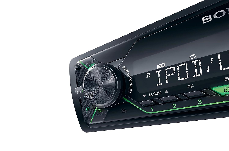 Receptor Multimedia de Coche Extra Bass, 4X 55 W, Ecualizador de 10 Bandas, funci/ón Karaoke, USB, AOA 2.0, MP3 y FLAC, Interfaz Verde Sony DSX-A212UI Color Negro