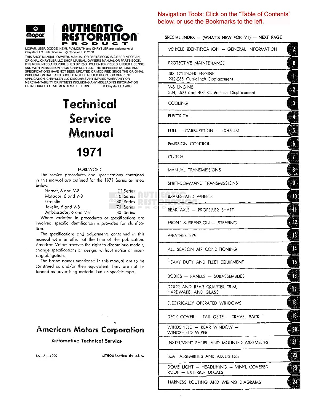 Bishko Automotive Literature 1971 Amc Hornet Matador Gremlin Wiring Diagram Shop Service Repair Manual Cd Engine