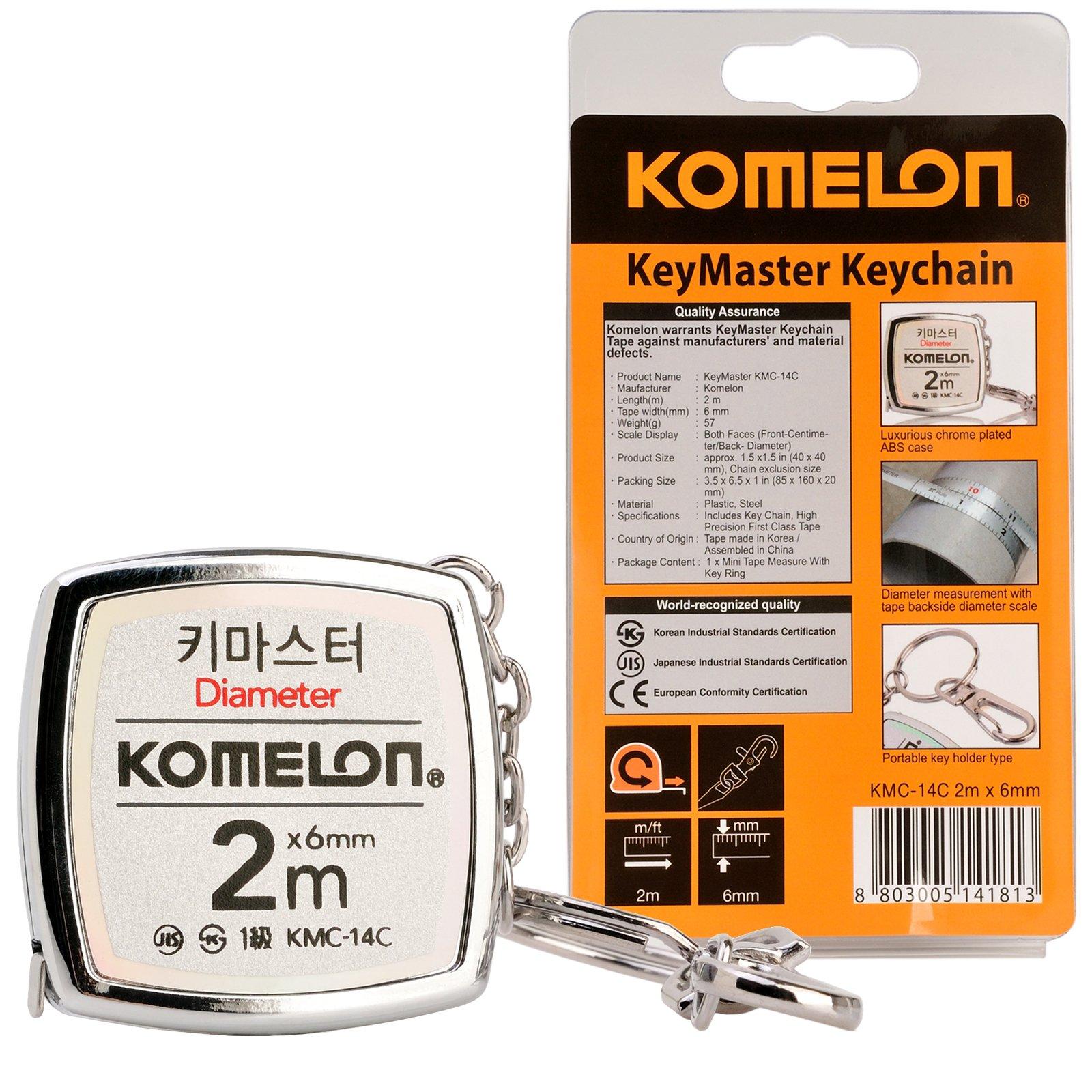 Komelon KMC-14C KeyMaster Tape Measure 2-Meter/Diameter Keychain Pocket Mini Key Chain Ring Chrome Coated Measuring Tool