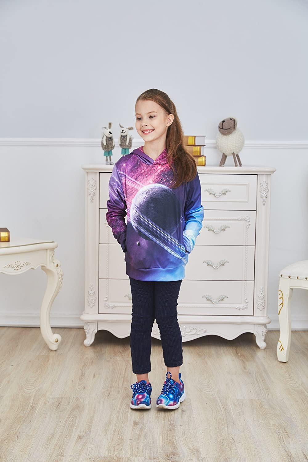 SAYM Big Girls Galaxy Fleece Pockets Sweatshirts Jacket Pullover Hoodies