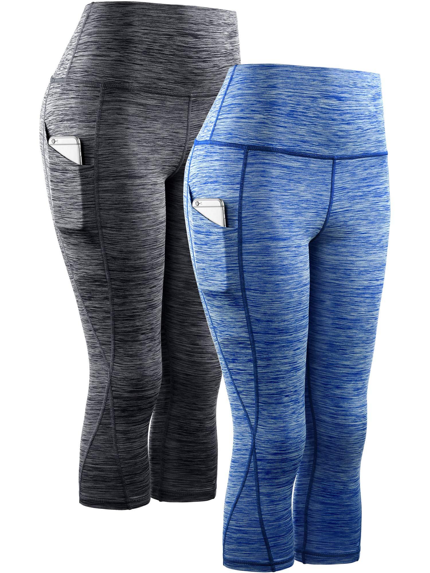 Neleus Women's 2 Pack Tummy Control High Waist Yoga Capri Leggings with Pockets,9034,Black,Blue,S,EU M by Neleus