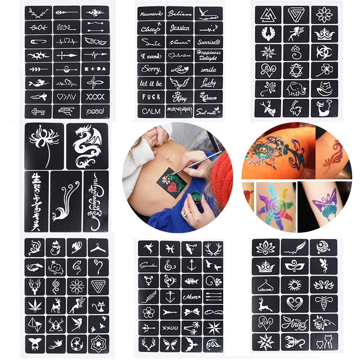 Xiangfeng 115 Mini Sheets Self-adhesive Tattoo Stencils Template Indian Painting Stencil Tattoo for Body Art Painting Glitter Airbrush Tattoo,Style Random