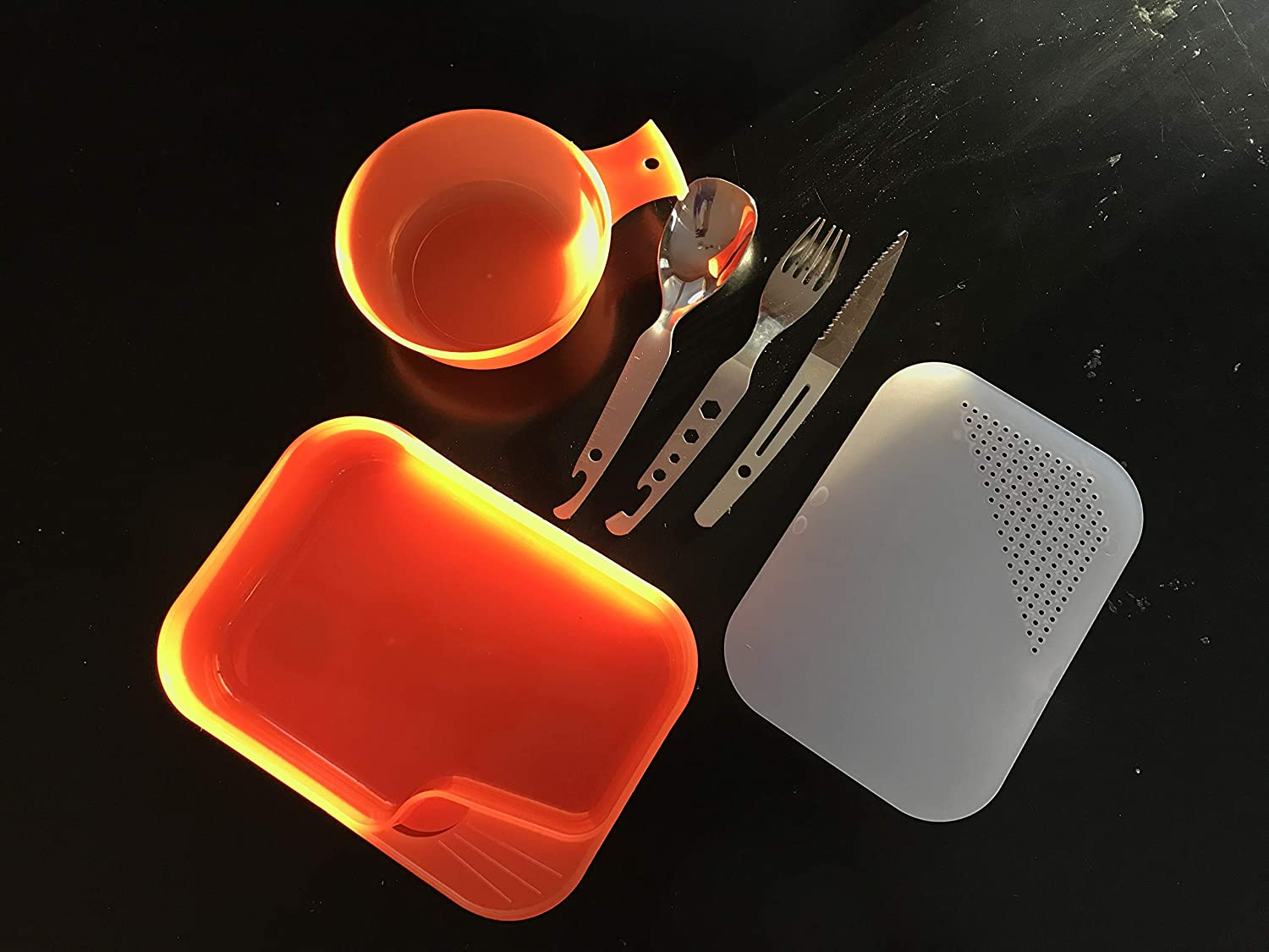 Backpacking Travel and Outdoor Survival UST Brands 20-02734 BPA Free Construction and Eating Utensils for Hiking UST PackWare Mess Kit with Self Contained Camping